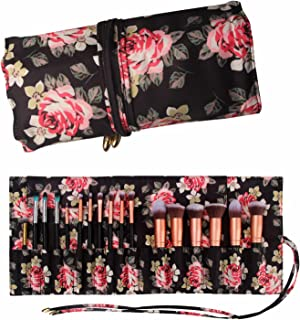 Makeup Brush Rolling Case Pouch Holder Cosmetic Bag Organizer Travel Portable 18 Pockets Cosmetics Brushes Black Leather Case (peony pattern)