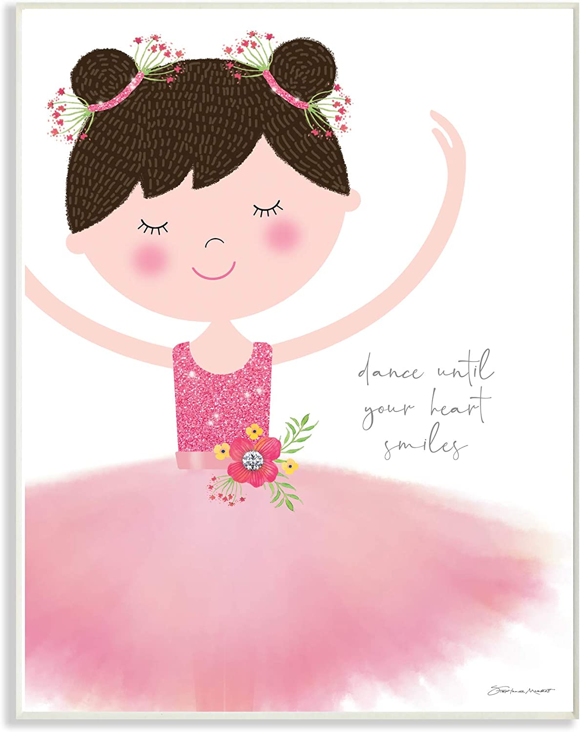 The Kids Room by Stupell Dance Until Your Heart Smiles Brown Haired Ballerina in Pink Tutu Wall Plaque Art, 12x18, Multi-color