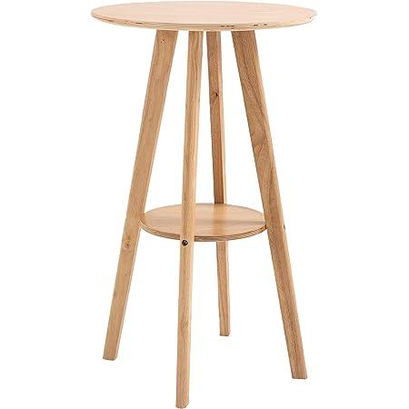 HOMCOM Table de Bar Ronde Style Naturel Chic - étagère intégré - Ø60 x 100 cm - Bois Massif Eucalyptus contreplaqué