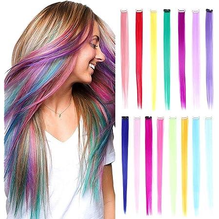 15 piezas Clip de extensiones de cabello liso de 20 pulgadas de color arco iris Clip sintético multicolor en extensiones de cabello Aspectos ...