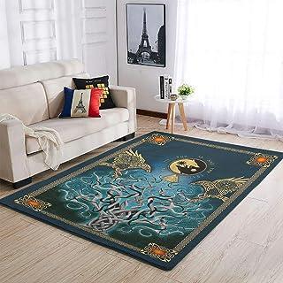 OwlOwlfan Tapis viking Odin, corbeaux et arbre de vie, tapis doux pour décoration d'intérieur, tapis de sol pour chambre à...