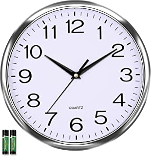 Laigoo 12 inch Analog Wall Clock Silver, Silent Non-Ticking, Decorative Modern Wall Clock Battery Operated for Living Room...