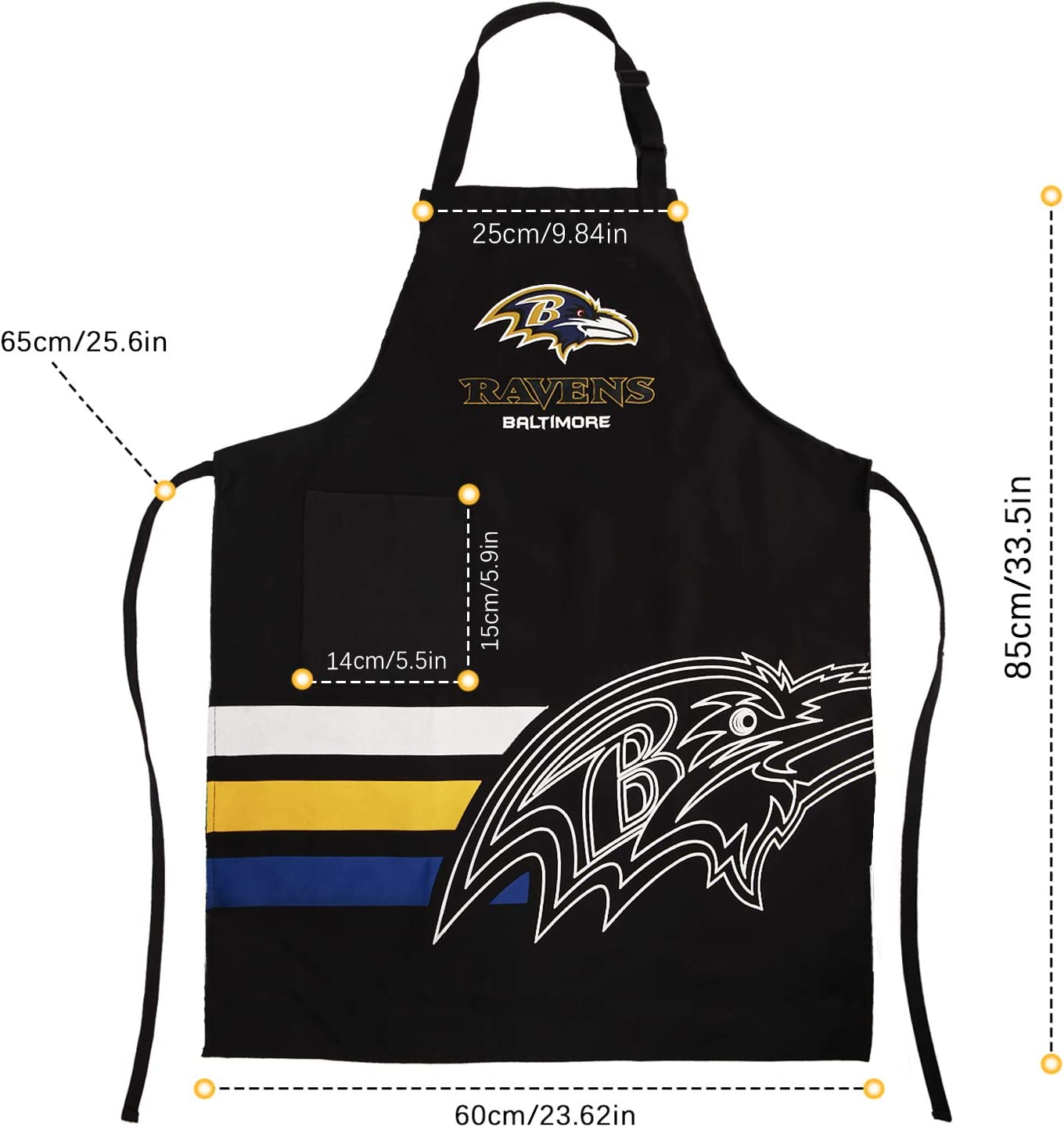 MOREMO Football Team Aprons Sports Chef BBQ Apron with Pockets for Fans Gift for Christmas