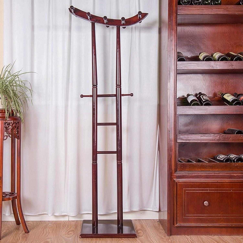 Solid Wood Floor Coat Rack Creative Hanger Bedroom Clothes Rack Combination Ultra Stable Super Reset Multi-Function Storage Rack (color   B)