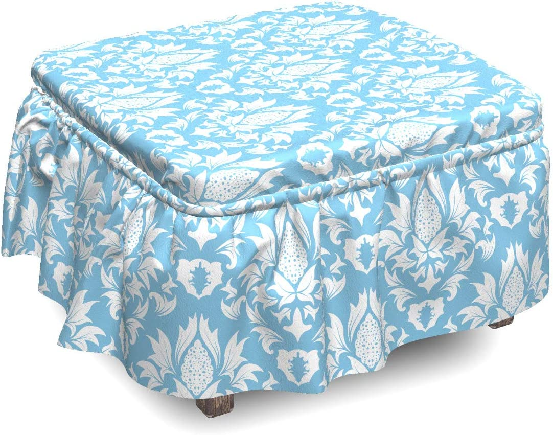 Ambesonne Damask Ottoman Cover Blue White Piece S Washington Mall Garden 2 Challenge the lowest price of Japan ☆ Old