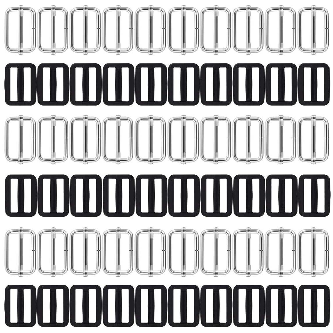 60 Pcs 1 inch Tri-Glides Slide, AFUNTA Metal & Plastic Rectangle Adjustable Webbing Slider Fasteners Strap Backpack Belt Suitcase DIY Accessories - Black & Silver