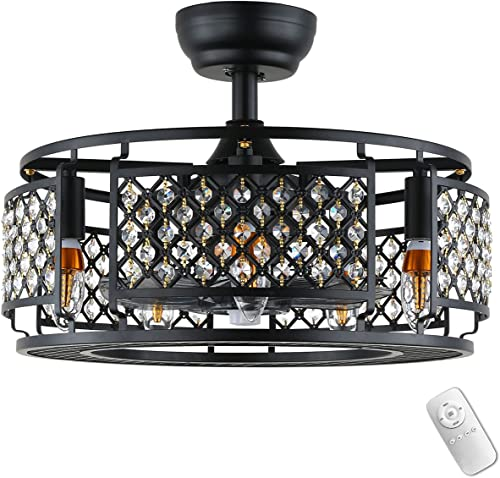 high quality Industrial outlet online sale Bladeless outlet sale Ceiling Fan with Lights, Farmhouse Cage Fandelier with Remote Control, Vintage Indoor Crystal Chandelier Fan for Living Room Bedroom Dining Room, 18.9 Inch, Black outlet sale