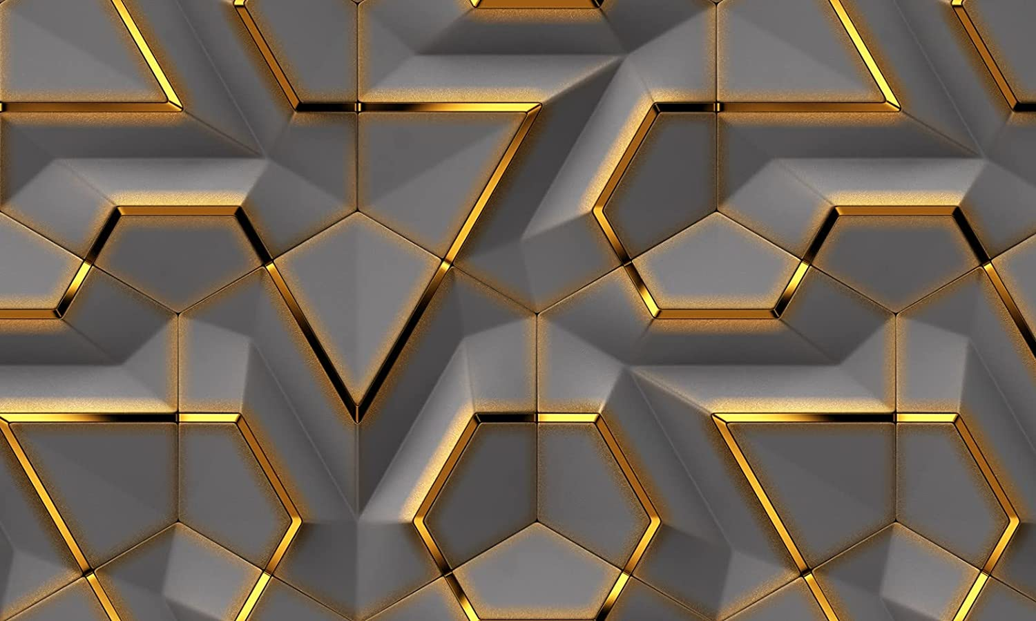 Amazon Com 3d Gold Geometric Shapes Wallpaper Grey Background Wall Room Handmade Products