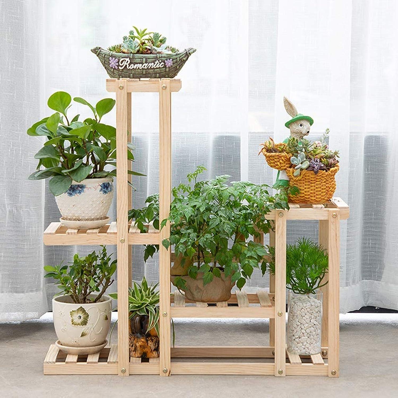 Flower racks - Flower Stand Balcony Living Room Multi-Layer Wooden Plant Shelf Floor-Standing Flower Pot Rack (color   Without Wheels)