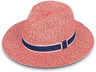 Lanzom Women Wide Brim Straw Panama Roll up Hat Fedora Beach Sun Hat UPF50+ 84a6309f25f6