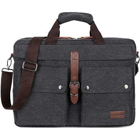 BAOSHA Leinwand Herren Aktentasche Businesstaschen Laptoptasche für 14~17 Zoll Laptop Notebook Arbeitstasche (Schwarz)