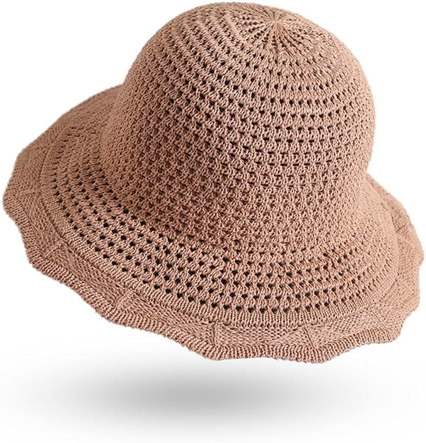 LIGYM Summer Sun Fishing Hat, Lace Shaped Knitted Foldable Straw Hat