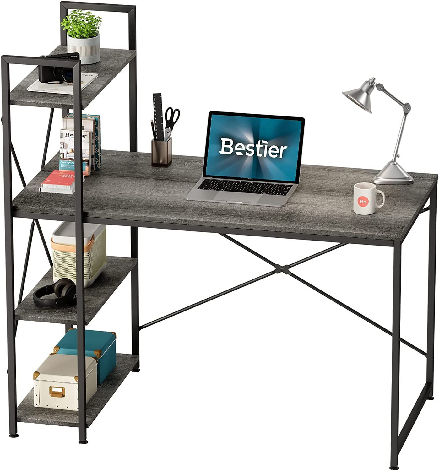 Bestier Year-end annual account Computer Desk Max 57% OFF with Storage Shelves Home Inch 47 D Office