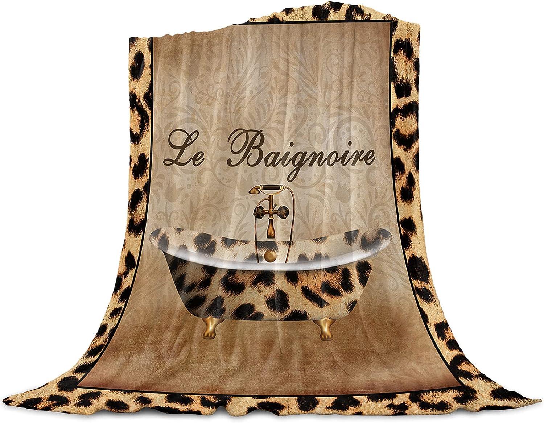 Soft Flannel Fleece Blanket unisex Outlet sale feature Leopard Print Texture Breathable Thr