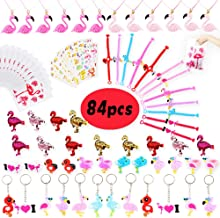 Flamingo Party Favors Supplies for Kids- Flamingo Bracelets Rings Necklaces Keychains Hair Clips Stickers Gift Bags Flamingo Birthday Supplies Goodie Bags Filler-84 PCS