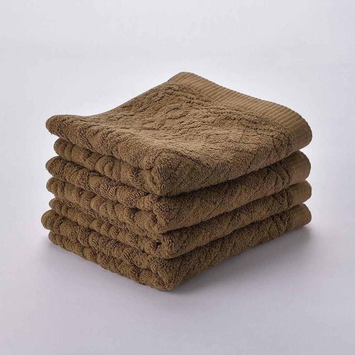 に関して悪の放つ日繊商工 今治タオル ニット フェイスタオル 4枚セット ブラウン knit_f4set_br