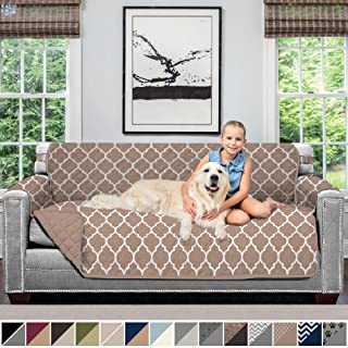 Sofa Shield Original Patent Pending Reversible Sofa Slipcover, 2 Inch Strap Hook, Seat Width Up to 70 Inch Furniture Protector, Couch Slip Cover Throw for Pets, Kids, Cats, Sofa, Quatrefoil Mocha