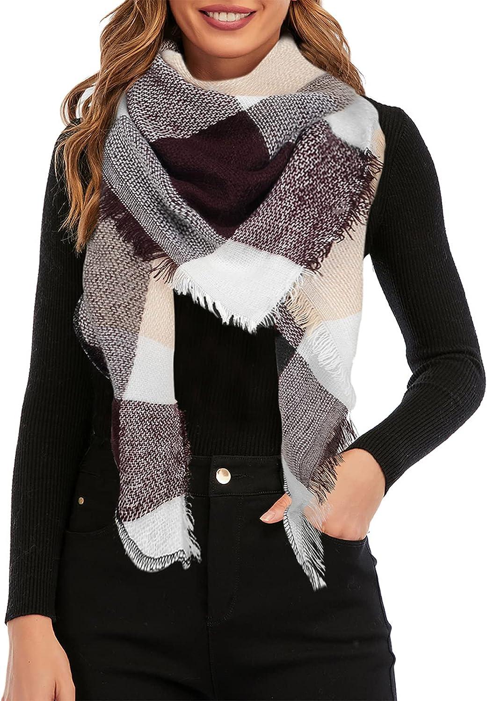 Century Star Women's Stylish Warm Tassels Soft Plaid Tartan Scarf Winter Large Blanket Wrap Shawl