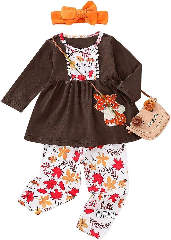 Toddler Baby Girls Turkey Print Dress Shirt Tops Pants Thanksgiving Day Outfits Set
