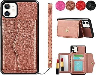 Back Cover telefoonhoesje voor iPhone 11, premium lederen portemonnee hoesjes met lanyard kaart slots kickstand functie sp...