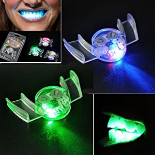 4 PCS Second Generation Flashing Mouth LED Mouthpieces Halloween Rave Party Teeth Braces Glow in The Dark Mouth Guard