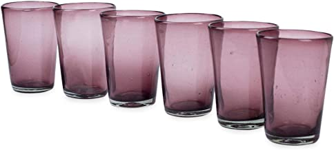 NOVICA Hand Blown Purple Recycled Glass Large Tumblers, 15 oz 'Amethyst' (set of 6)