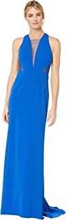 Adrianna Papell Women's Long Jersey Gown with Illusion Mesh Inset Detail