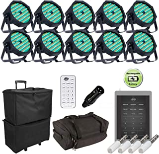 (10) ADJ Mega Go Par64 Plus Rechargeable Low Profile Par Can Package