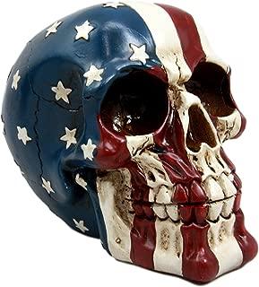 Ebros Patriotic US American Flag Star Spangled Banner Skull Decorative Figurine 5.5