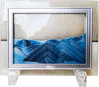 YayaCat Deep Sea Moving Sand Art Picture Sandscapes in Motion Office Desktop Art Decor Mini Size Blue 7
