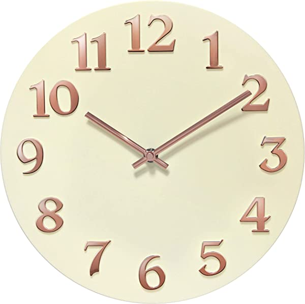 Infinity Instruments Modern Ivory Rose Gold Wall Clock Matte Ivory