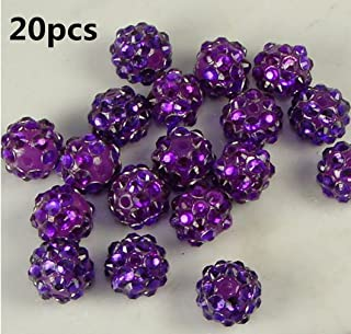 20pcs 10mm Purple Rhinestone Crystal Shamballa Beads Charms Disco Ball Pave Spacer Beads for Jewelry Makings by SamGreatWorld
