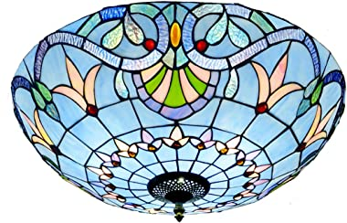 20 inch Tiffany Style Ceiling Light, E27 Retro Stained Glass Bowl Shade Flush Mount Ceiling Lamp, Metal Decoration Hallway Ce