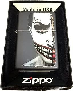 Zippo Custom Lighter - Half Scary Painted Clown Face - Regular Black Matte