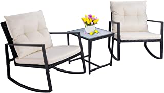 Walsunny 3 Pieces Patio Set Outdoor Wicker Patio...