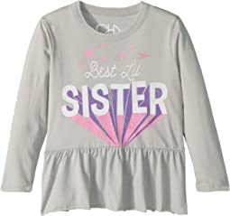 Super Soft  Vintage Jersey Best Little Sister Peplum Tee (Toddler/Little Kids)