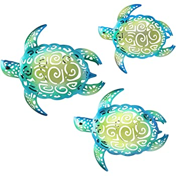 YOUIN Set of 3 Metal Sea Turtle Beach Theme Decor Wall Art Halloween Decorations for Indoor Outdoor Bathroom Garden