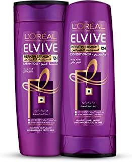 L'oreal Elvive Keratin Straight Shampoo 400ml + Conditioner 400ml