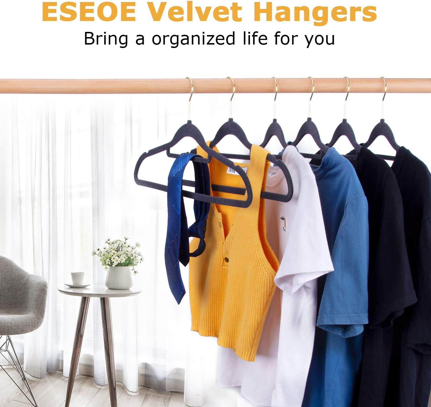 Ties 50 Pack Non Slip Suit Hangers with Gold Color Swivel Hook,Ultra Thin Space Saving,Wide for Coat ESEOE Velvet Clothes Hangers Gray Shirt Pants