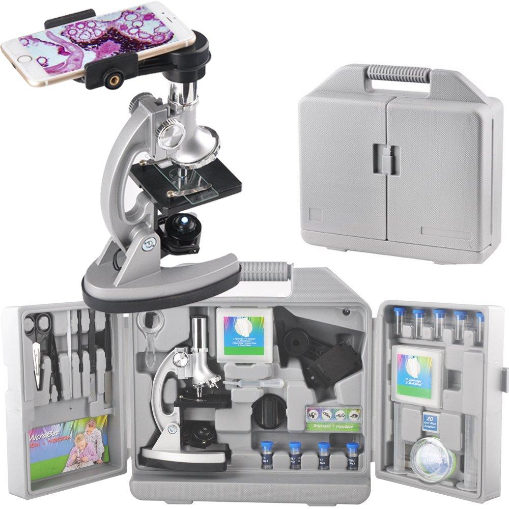 Gosky GOMC005子供用顕微鏡科学セット、3ズーム、メタルアームとベース、70個+アクセサリーセット、収納ボックス、スマートフォンアダプター