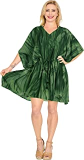 LA LEELA Women's Plus Size Beach Tunic Top Swing T-Shirt Loose Dress Printed A