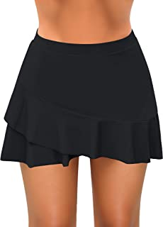 Luyeess Women's High Waisted Ruffle Swim Skirt Bikini Tankini Swimsuit Bottom