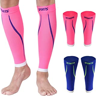 Calf Compression Sleeves Men Sports Socks for Shin Support Relief Leg Vein 2 Pairs 15-20mmHg Breathable Brace Medical Wrap