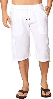 Cotton White Loose Fit Summer Cargo Shorts Solid Multi-Pocket Casual Capri Elastic Waistband Pants