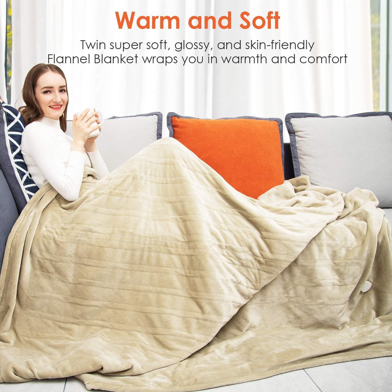 72 x 84 Electric Blanket Full Size 72x84 Inch Electric Throw Blanket 3 Heat Setts Beige Heating Blanket ETL Certified Heated Blanket Washable Soft Flannel Heated Throw Blanket Fast Heating