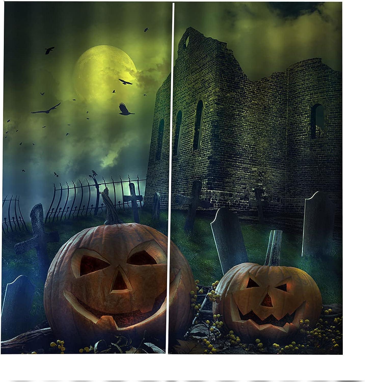 Cortinas Decorativas 3D Lámpara De Calabaza De Halloween Impresión Aislamiento Acústico Y Protección Uv Sala De Estar Dormitorio Balcón Habitación De Los Niños Cortinas Decorativas 2xW75xH166cm