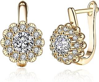 Fashion 14K White Gold Flower Small CZ Diamond Hoop Earrings For Women Girls Cubic Zirconia Dainty Hoops Hypoallergenic