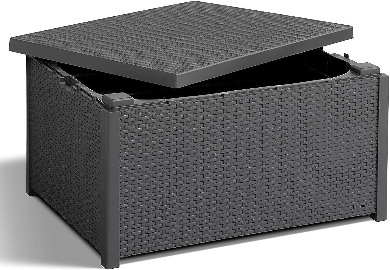 Koll Living Ablagetisch Graphit - Tisch mit Kissenboxfunktion in naturgetreuer Rattanoptik - kann vielseitig kombiniert Werden - 79 x 59 x 42 cm