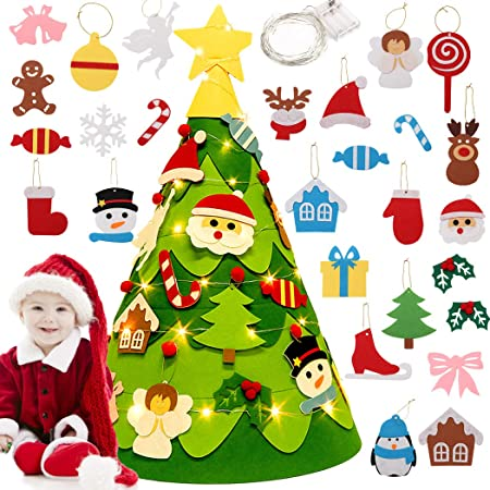 This 100/% handmade adorable felt Christmas tree with star prints is the perfect addition to your Christmas tree ornaments.