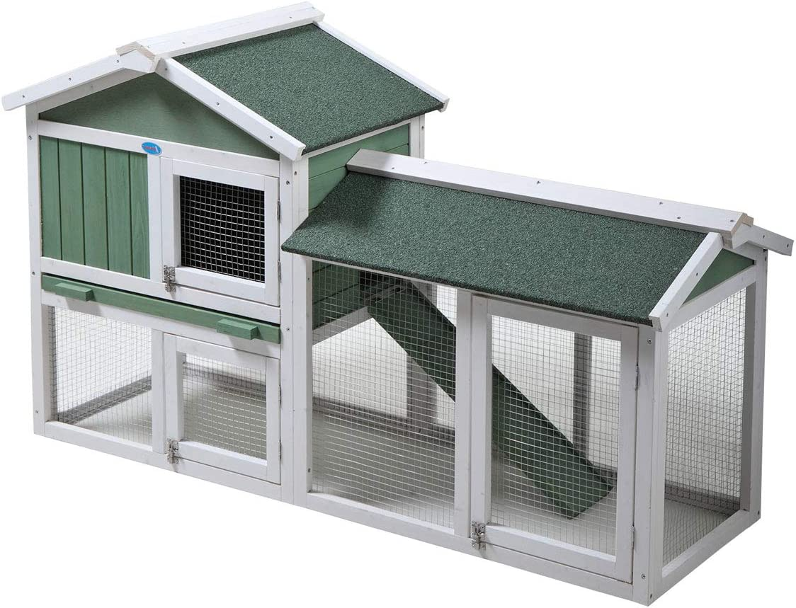COZIWOW Inventory cleanup selling sale Large 2-TierWooden Rabbit Chicken Hutch Ho Coop Hen Pet San Francisco Mall
